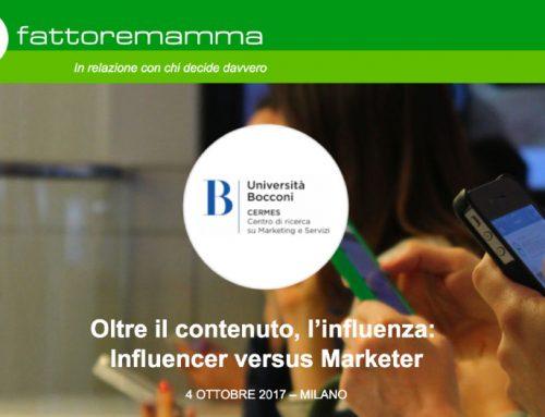 Ricerca FattoreMamma – Cermes Bocconi 10-2017: i trend dell'Influencer Marketing e le mamme